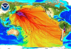 An energy map provided by the National Oceanic and Atmospheric Administration (NOAA) shows the intensity of the tsunami in the Pacific Ocean caused by the magnitude 8.9 earthquake which struck Japan on March 11, 2011.